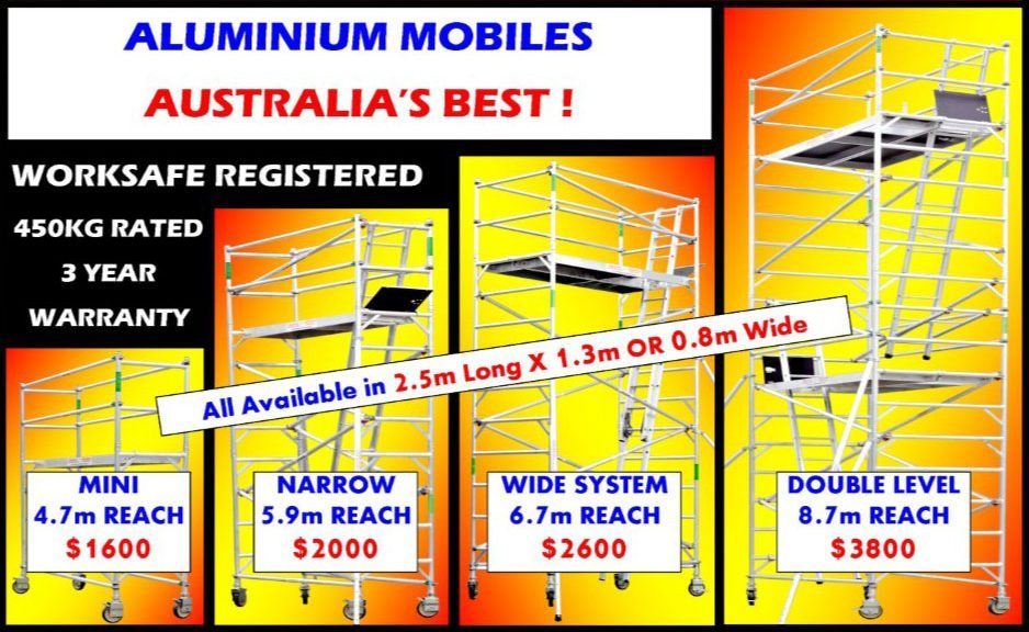 Aluminium Mobile Scaffold Towers For Sale Melbourne Brisbane Sydney Adelaide Perth Darwin